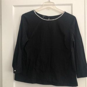 Talbots dressy pearl trimmed blouse